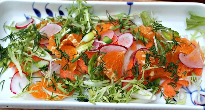 salat med gulerod,appelsin samt fennikel