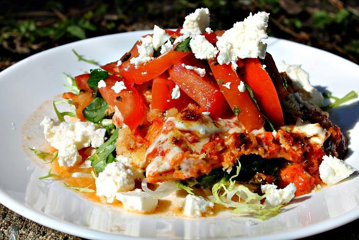 lasagne med aubergine, spinat