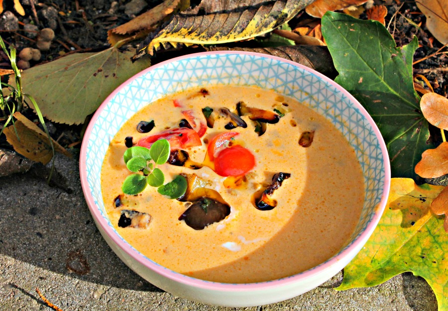 Auberginesuppe med tomater